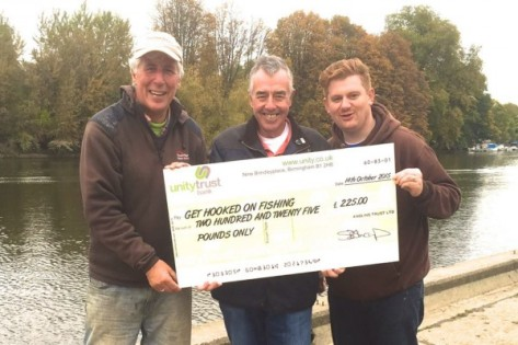"Martin Salter, Keith Arthur and Will Barnard with a cheque for the 'Get Hooked on Fishing"" charity, raised at Tidefest 2015"
